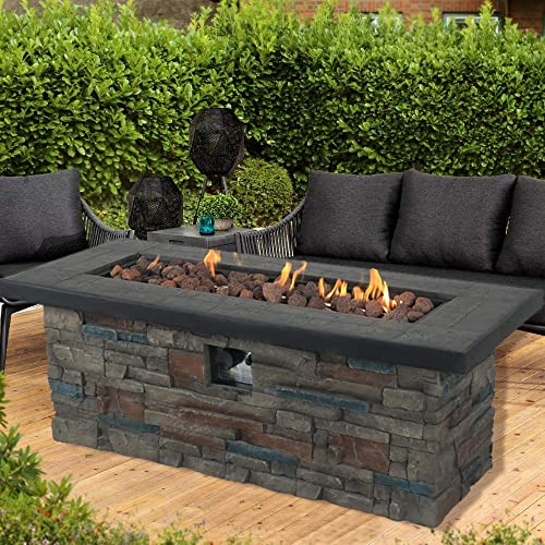 HikeSkyer Propane Fire Pit Table, Star Product, 48 Inch 50,000 BTU Auto-Ignition Gas Fire Pit with Cover, CE Certification and Wooden Rectangle Stonecrest Patio Fire Table, Free Lava Rocks