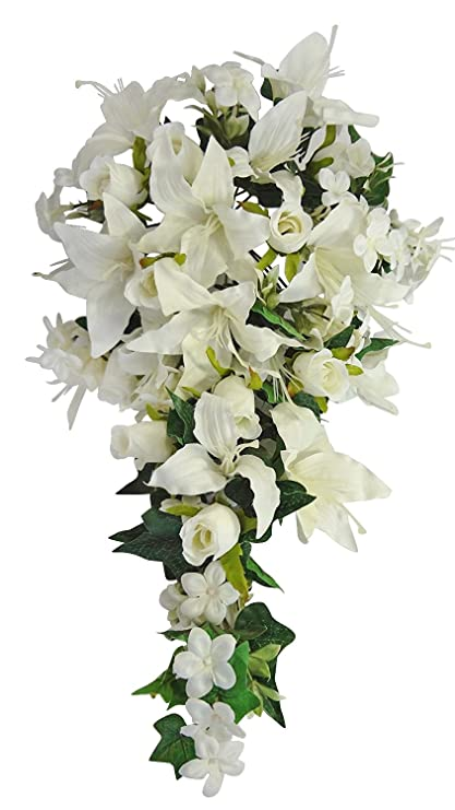 Amazoncom V Max Floral Decor Rose And Lily Wedding Bouquets Cream