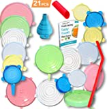 21PCS - 18pcs Silicone Stretch Lids,with Oil funnel, garlic peeler and straw Various Sizes and Shape of Containers,Reusable, Durable and Expandable Food Covers, Keeping Food Fresh, Dishwasher and Fre