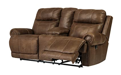 Ashley Furniture Signature Design   Austere Recliner Loveseat With Console    1 Touch Power Reclining Sofa