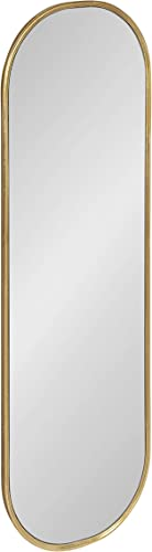 Kate and Laurel Caskill Mid-Century Oval Mirror, 16 x 48 , Gold, Capsule-Shaped Accent Mirror for Entryway, Living Room, or Bathroom