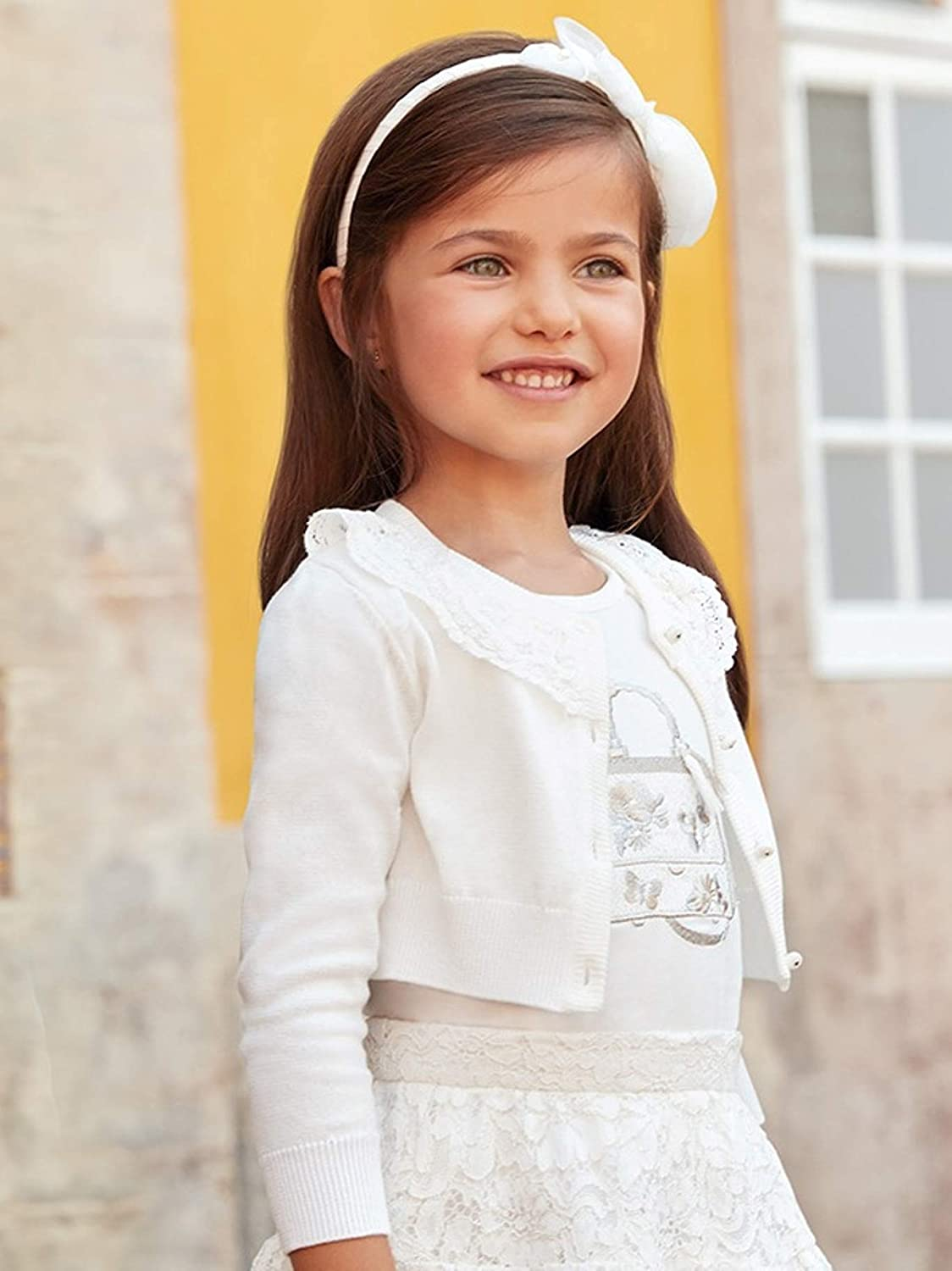 Tricot Cardigan with lace for Girls Natural Mayoral 3302