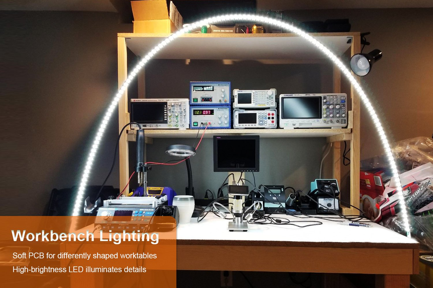 Led Workbench Light ViLSOM 4M/13Ft Workbench Light Bar Lights for Work Bench with Dimmer and Power Supply Adaptor for Work Bench Display Case ... & Led Workbench Light ViLSOM 4M/13Ft Workbench Light Bar Lights for ...