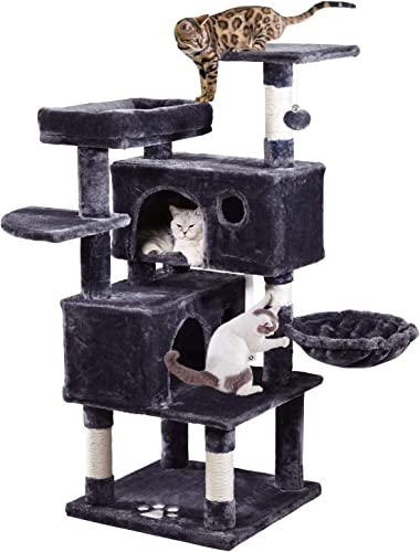 MQ Multi-Level Cat Tree Condo, Activity Center Cat Play Tower Furniture 49 with Sisal-Covered Scratching Posts 2Pcs Plush Perches 2Pcs Cat Caves Basket for Kittens Adult Cats Grey Smoky Grey