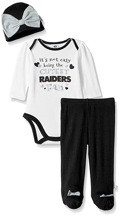brand new 1bc91 2d1f7 NFL Oakland Raiders Baby-Girls Bodysuit, Pant, Cap Set, Black, 6-9 Months