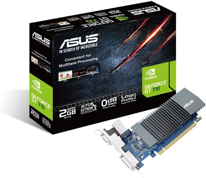 Asus gt710-sl-2gd5 geforce gt 710 ddr5 scheda grafica da 2 gb con raffreddamento passivo 0 db efficiente, pci-