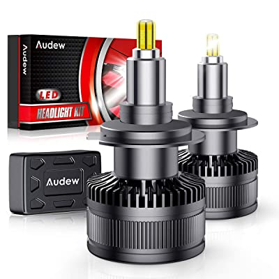 Audew H7 LED Headlight Bulbs,2020 Newest Version 360-degree LED Headlight bulbs with 50000 Hours Lifespan-10000LM 60W 6000K Cool White Extremely Bright Conversion Kits(Pack of 2): Automotive