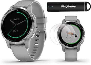 PlayBetter Garmin vivoactive 4S (Silver/Gray Band) Fitness Smartwatch Power Bundle | 2019 Model | with HD Screen Protectors (x4) Portable Charger | ...