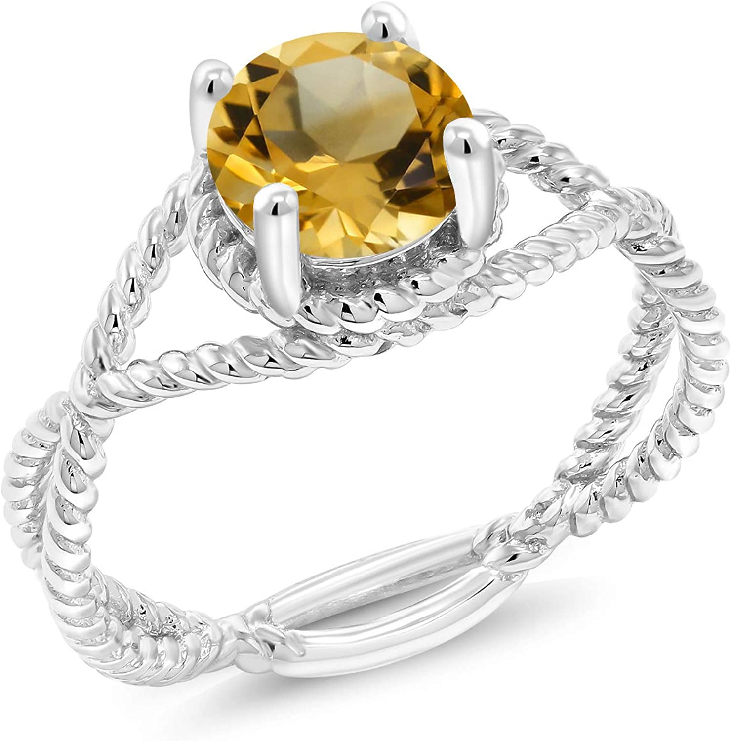 Available in size 5, 6, 7, 8, 9 1.55 Ct Oval Yellow Citrine and White Topaz 18K Yellow Gold Plated Silver Ring