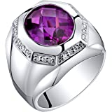 Mens 5.50 Carats Created Purple Sapphire Ring Sterling Silver Sizes 8 to 13