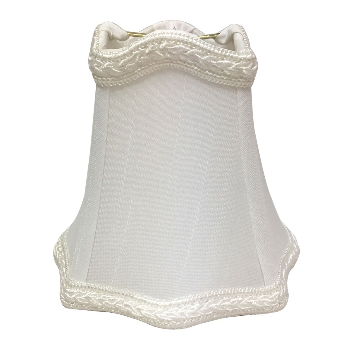Royal Designs White with Decorative Trim Hexagon Empire Chandelier Lamp Shade, 2.5'' x 5'' x 4.5'', Clip On by Royal Designs, Inc