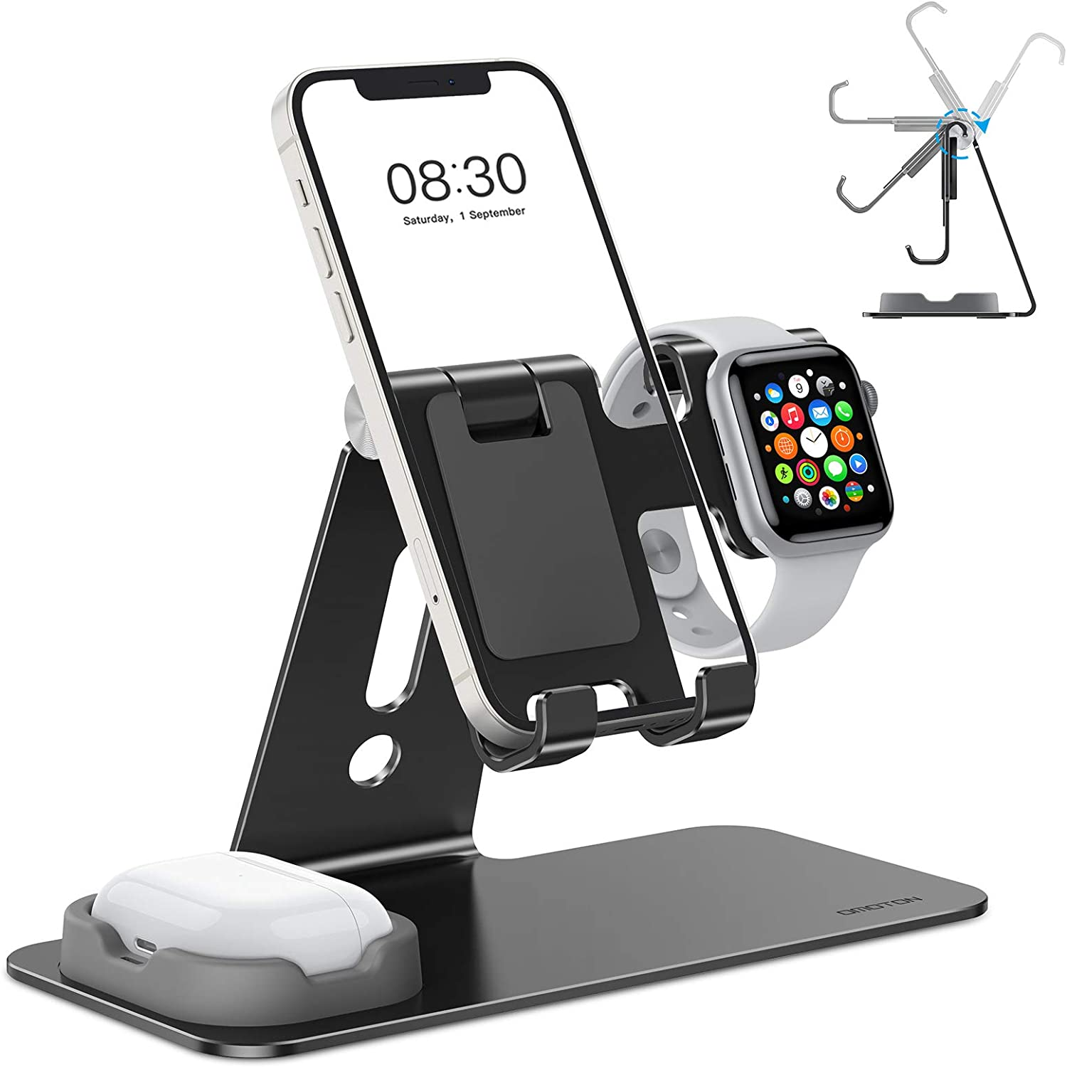 OMOTON Adjustable Apple Watch Stand, Triunity Charging Dock For iWatch, AirPod and iPhone 11/XR/XS/6/7/8 Plus/12 Pro Max, Original Apple Watch Magnetic Charging Cable Required, Black