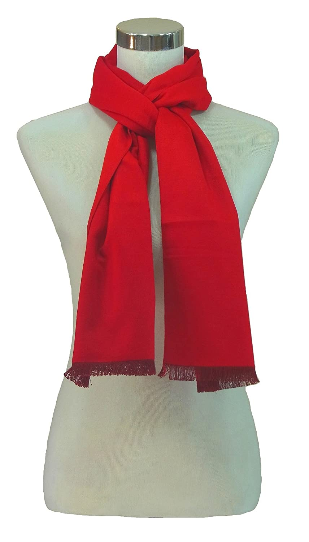 Schal 100% Seide Seidenflanell Flanell Fleece 180X30cm Fransen SC-S-PR-1604 Rot