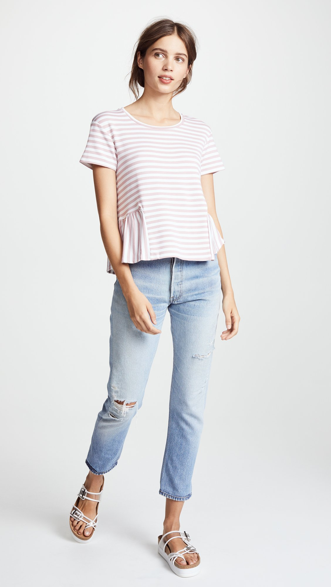 Three Dots Women's Cape Cod Stripe Loose Short Top, Rose/White, Extra Small by Three Dots (Image #5)