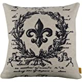"LINKWELL 18""x18"" Black Word Fleur De Lis Burlap Cushion Covers Pillow Case"