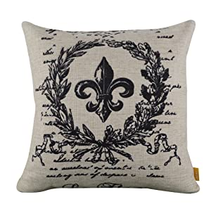 "LINKWELL 18""x18"" Black Word Fleur De Lis Burlap Cushion Covers Pillow Case"