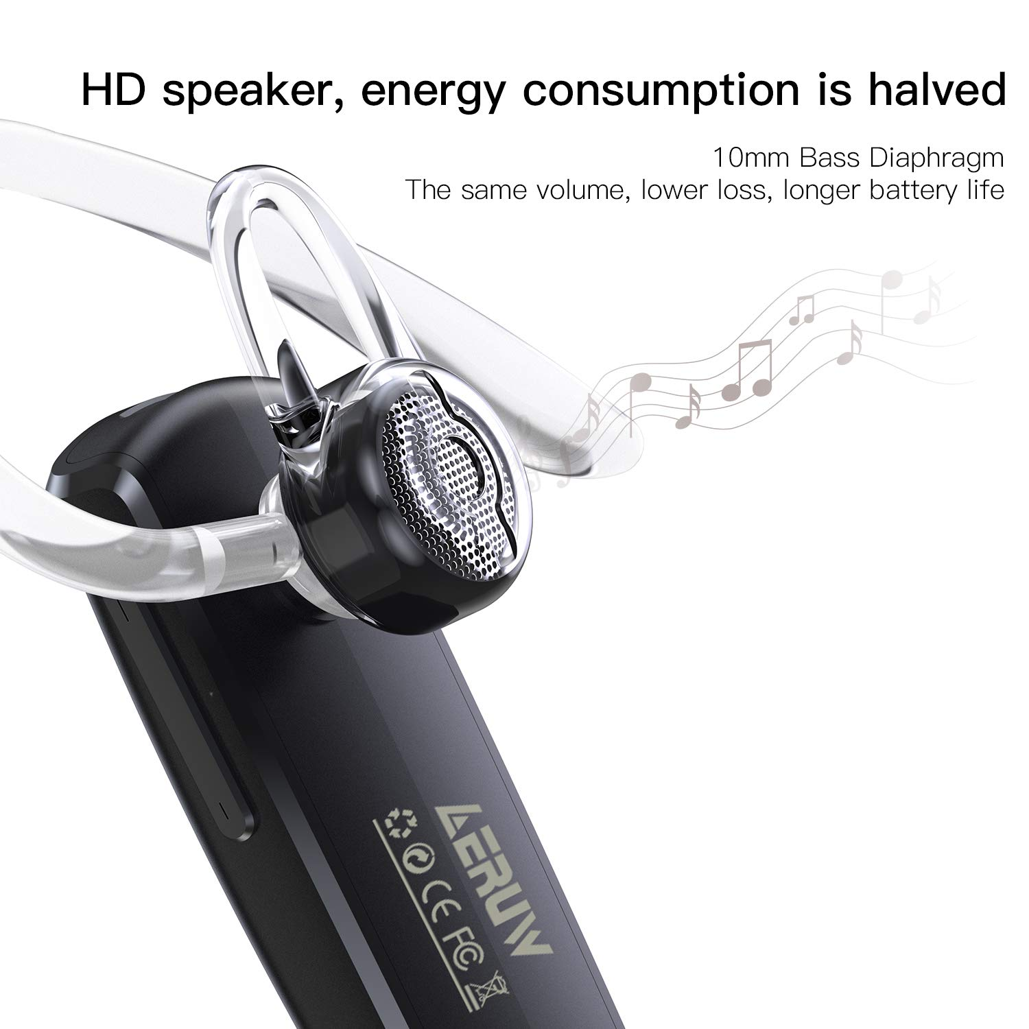 Bluetooth Headset,Hands Free Wireless Earpiece with Mic - Noise Reduction Bluetooth Earphone in-Ear Earbuds for Business/Office/Driving Support for iPhone