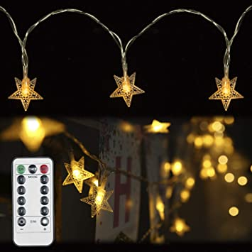 huge selection of aed19 271e9 String Lights,Rymbo 34ft Indoor/Outdoor Star Shape Lights LED Warm White  Twinkle Lights & USB Powered &Transparent String Cable & Remote Adapter