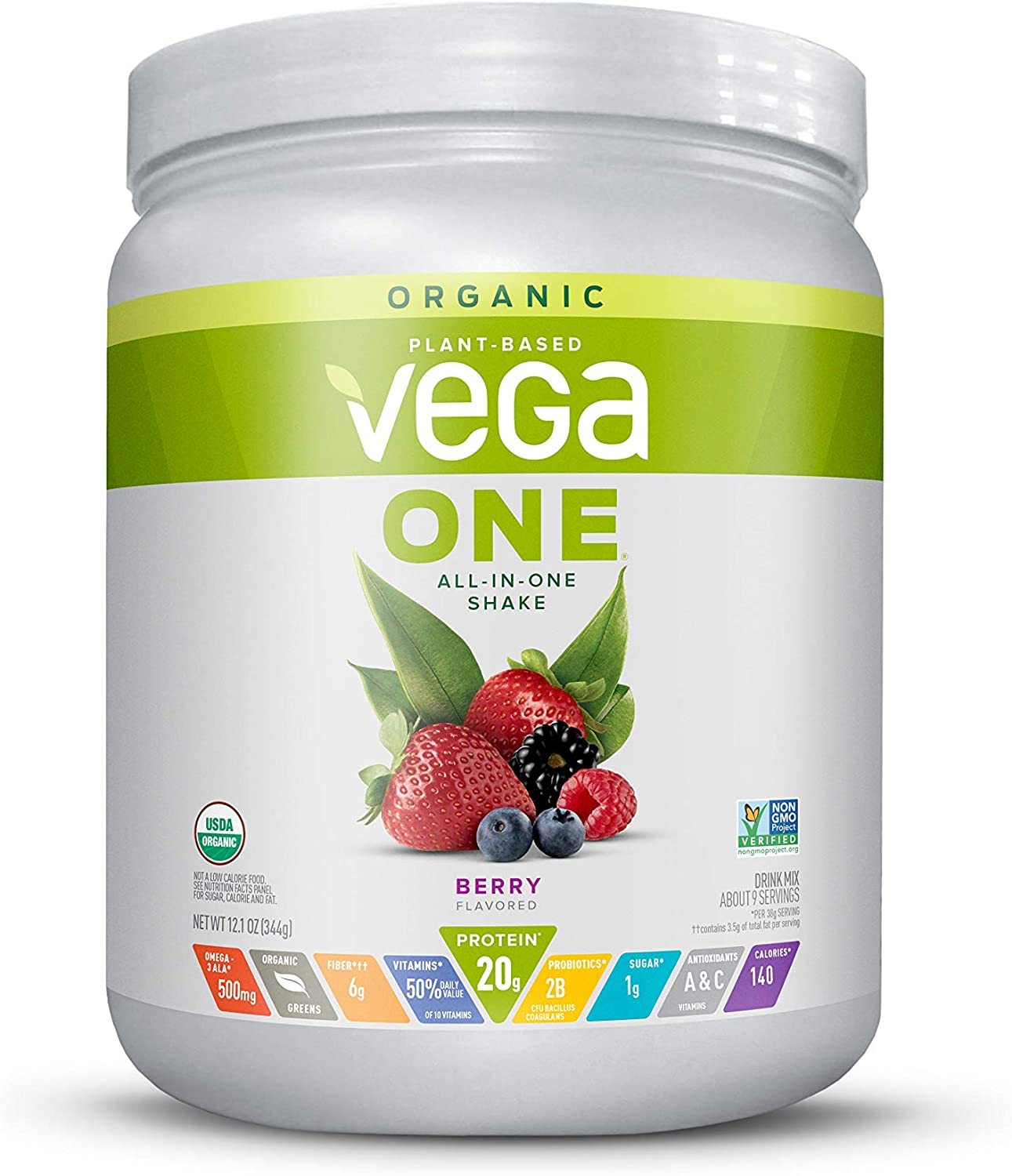 Vega One Organic Meal Replacement Plant Based Protein Powder, Berry - Vegan, Vegetarian, Gluten Free, Dairy Free with Vitamins, Minerals, Antioxidants and Probiotics (9 Servings, 12.1oz)