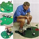 Colostar Funny Toilet Bathroom Mini Golf Mat Set Potty Putter Putting Game Novelty Gift