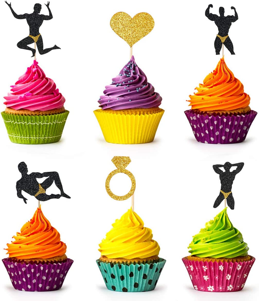 24 Glittery Bachelorette Party Cupcake Toppers Decor- Man Diamond Ring Love Heart- Bachelorette Party Wedding Engagement Bridal Shower Party Decorations