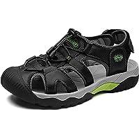 VTASQ Sandalias Hombre Verano Piel, Aire Libre Deportivas Playa Antideslizantes Zapatos Senderismo Sandalias con Punta…