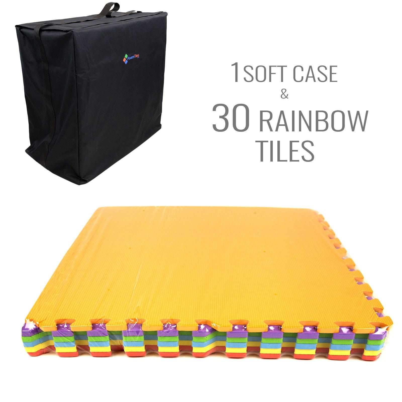 IncStores - Rainbow Foam Tiles (30 Pack w/Soft Case) - 2ft x 2ft Interlocking Foam Children's Portable Playmats by IncStores (Image #5)