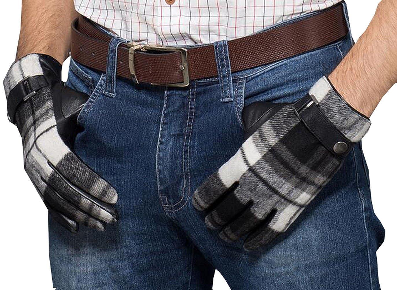 Only Faith Mens black and white stripes warm fingers sheepskin gloves
