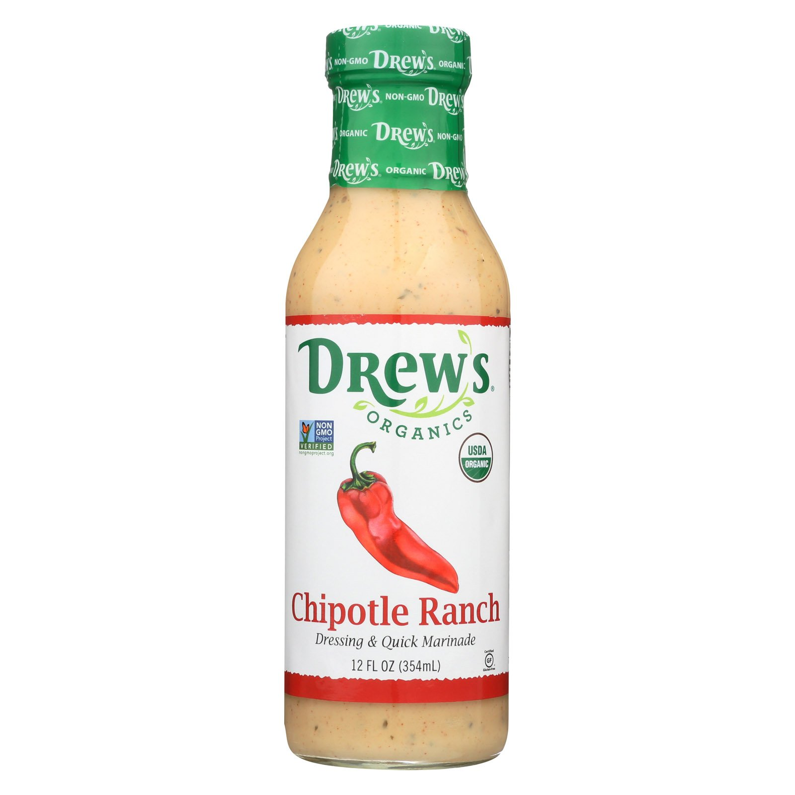 Drews Chipotle Ranch Dressing and Quick Marinade - 12 Oz. - Case of 6