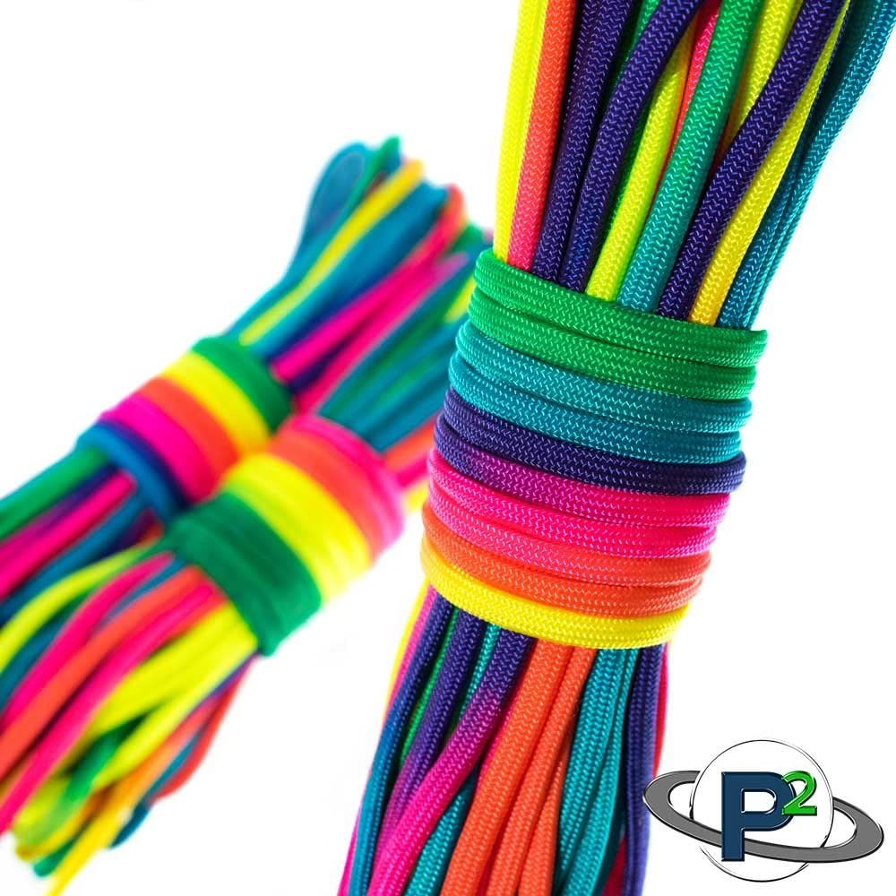 25 50 Available in 10 and 100 Feet PARACORD PLANET Colorful Rainbow Cord Tie Dye Style Type III 7 Strand 550 Paracord