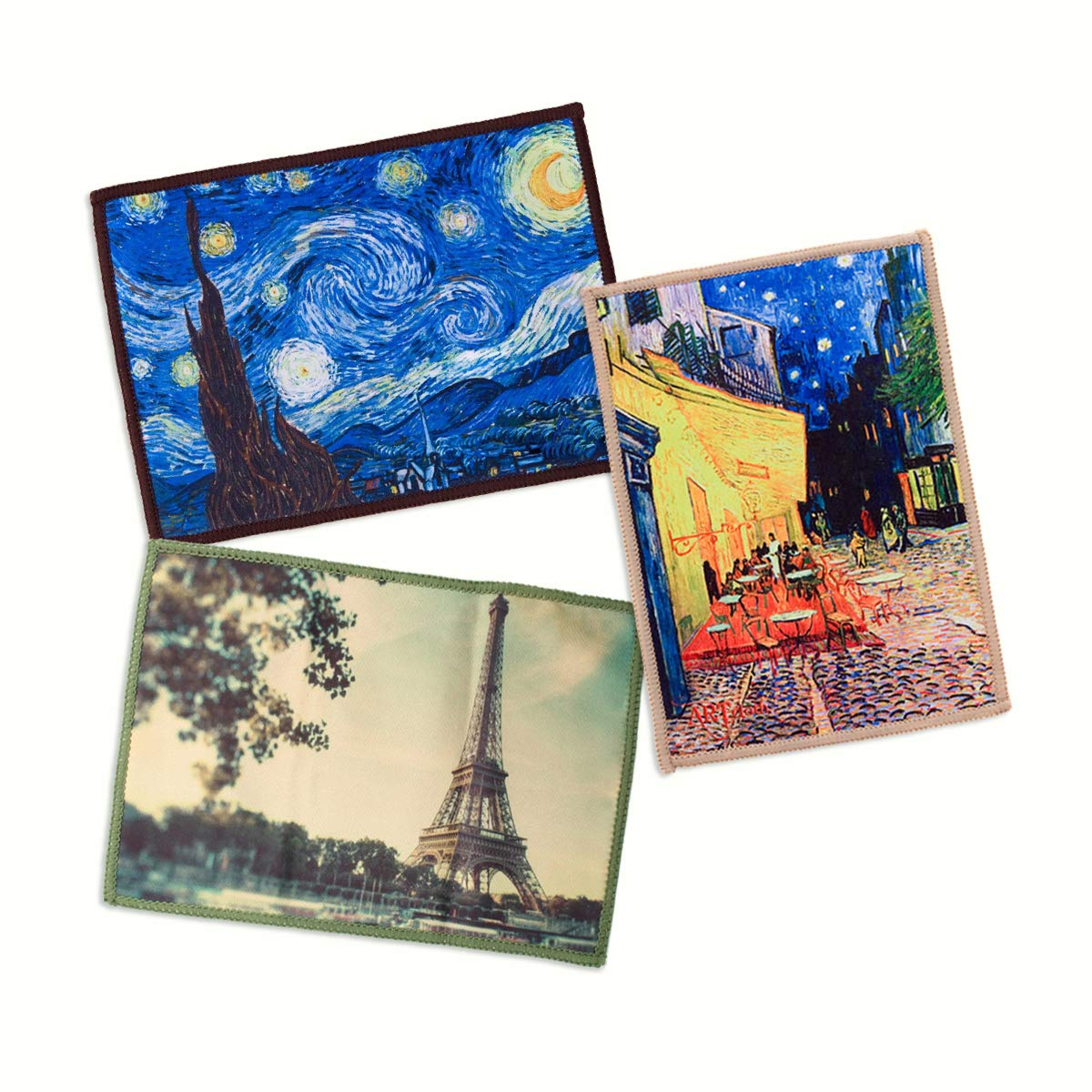 3-Pack Lynktec Smartie Microfiber Cleaning Cloth for iPad and Touch Screen (Van Gogh Cafe Terrace, Van Gogh Starry Night, Paris Eiffel Tower) by Lynktec