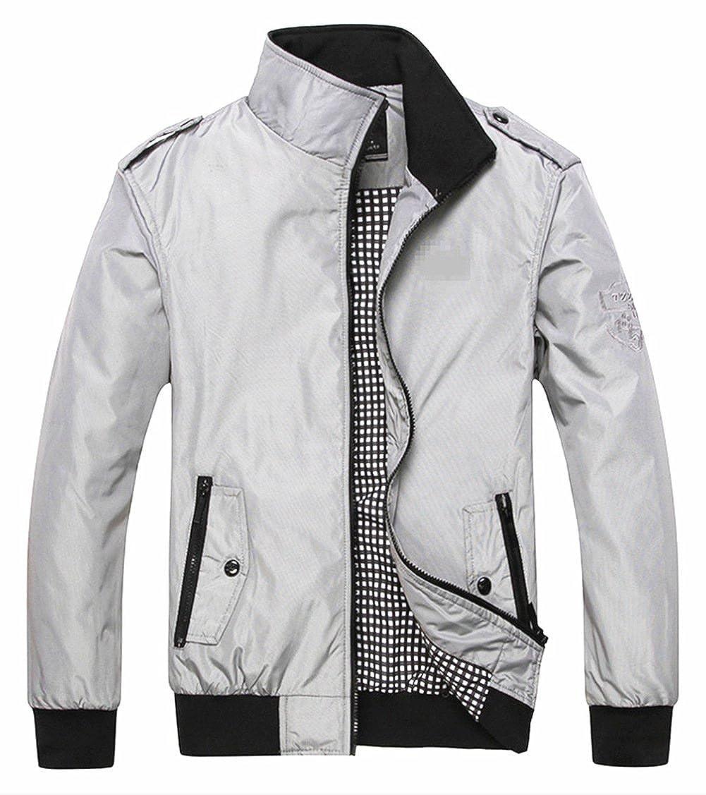 TBMPOY Mens Lightweight Stand Collar Windbreaker Zipper Bomber Jacket