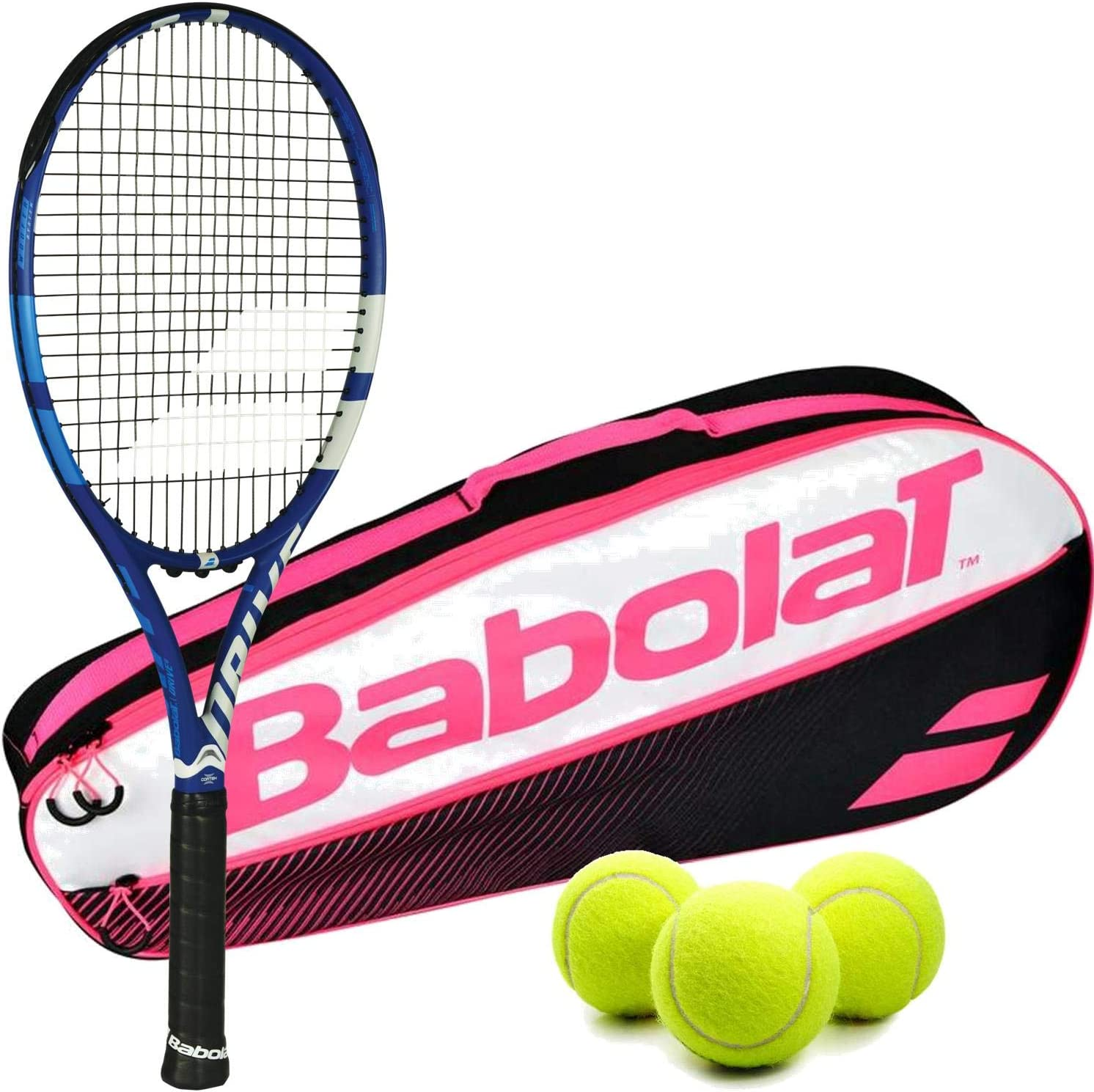 Babolat Drive Game (Drive G) テニスラケットキット Babolat Club テニスラケットバッグとテニスボール3個入り1缶付き ピンク 3 Pack Bag 4 1/8 Inch Grip