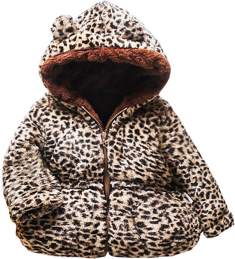 Shan-S Childrens Toddler Kids Baby Gril Boy Leopard Printed Cotton Windproof Coats Cute Ear Hooded Zipper Thick Warm Long Sleeve Coat Outwear Fleece Blousons Jacket 6M-3Y