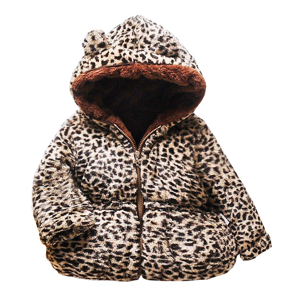Gallity Warm Coat for 6 M-3 Y Toddler Baby Girl Leopard Winter Hooded Windproof Jacket Hoodie Outwear, Most Wished Gift
