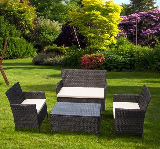 btm rattan garden outdoor wicker patio furniture outdoor sofa set steel brown