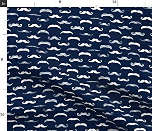 Spoonflower Fabric - Navy Baby Boy Little Man Mustache Trendy Color Printed on Petal Signature Cotton Fabric by The Yard - Sewing Quilting Apparel Crafts Decor