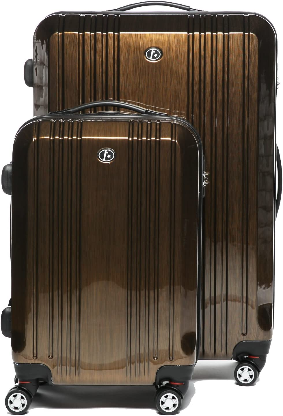 FERGÉ Juego 2 Maletas rígidas de Viaje Cannes Maleta Cabina 55 cm Maleta Grande Equipaje 2 Piezas con 4 Ruedas giratorias marrón