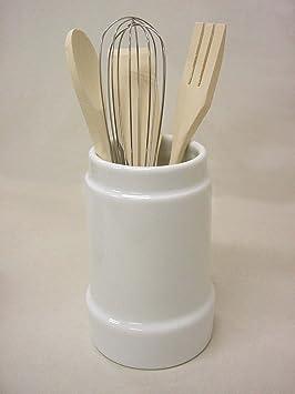 Bote CUBERTERO ESCURRE Cubiertos Ceramica con 5 Utensilios Grande Porcelana Blanco: Amazon.es: Hogar