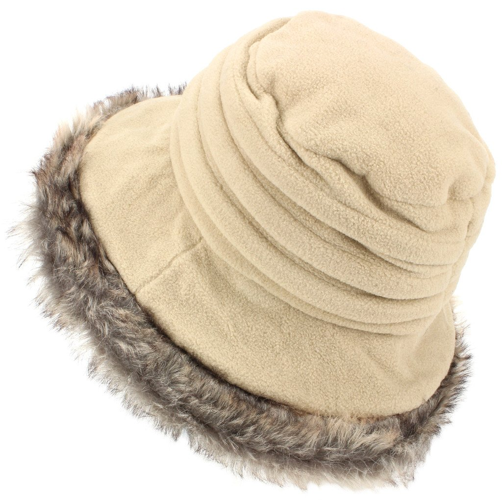 Ladies Fleece Hat Faux Fur Trim Hawkins Womens Winter Warm Ski BLACK WHITE