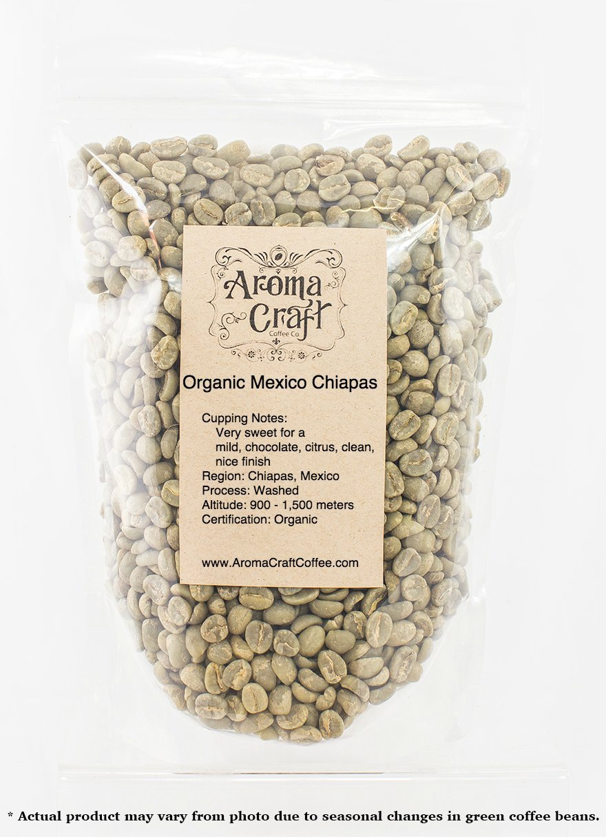 100% Certified ORGANIC Mexico Chiapas Altura EP Unroasted Green Coffee Beans (1 LB)