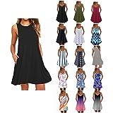 Winsummer Women Dresses Summer Mini Sleeveless Flower Print Plus Size Boho Dress Short Tank Dress A-Line Beach Sundress