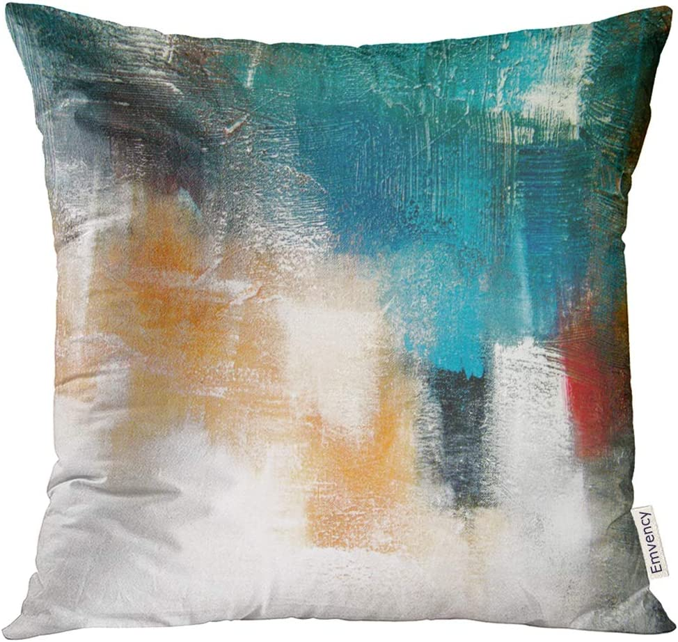 Emvency Throw Pillow Cover Canvas Colors Shading on Acrylic Painting Red Orange Blue and Turquoise Contemporary Mix Media Decorative Pillow Case Home Decor Square 16x16 Inches Pillowcase