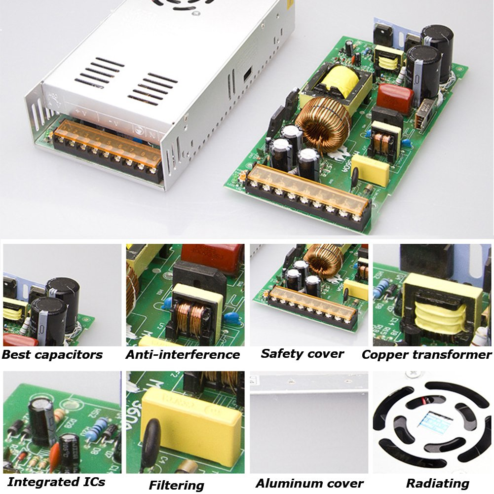 EAGWELL 24v 15a DC Universal Regulated Switching Power Supply 360w for CCTV,Radio,Computer Project, 3D Printer,LED Driver by EAGWELL (Image #6)