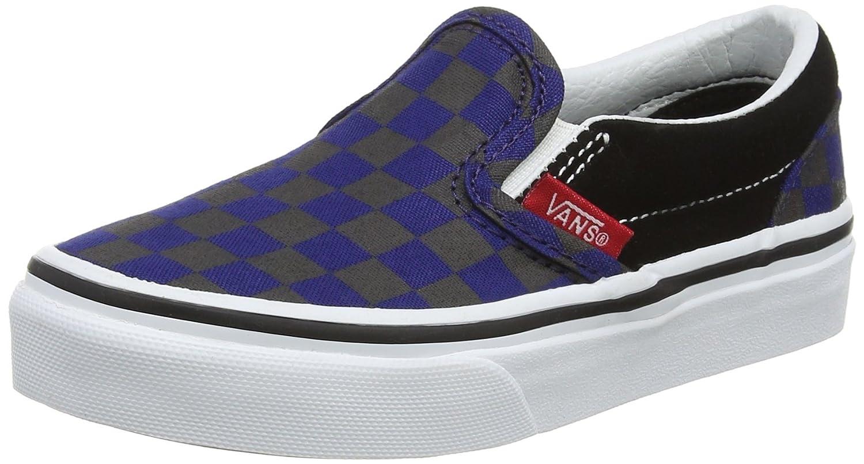 Vans ' Classic Slip-on (Little Big) B01N0QUQ6O 12 M US Little Kid (Checkerboard) Black/Blue Depths