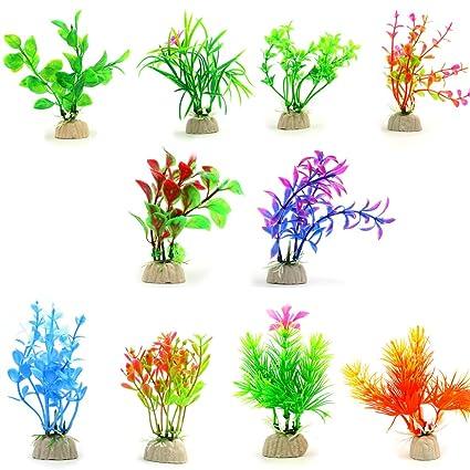 amazon com comsun 10 pack artificial aquarium plants small size 4