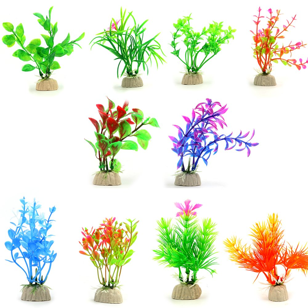 COMSUN 10 Pack Artificial Aquarium Plants, Small Size 4 to 4.5 inch Approximate Height Fish Tank Decorations Home Décor Plastic Assorted Color