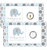 Elephant Baby Shower Scratch Off Party Game 28 pc. Blue & Grey