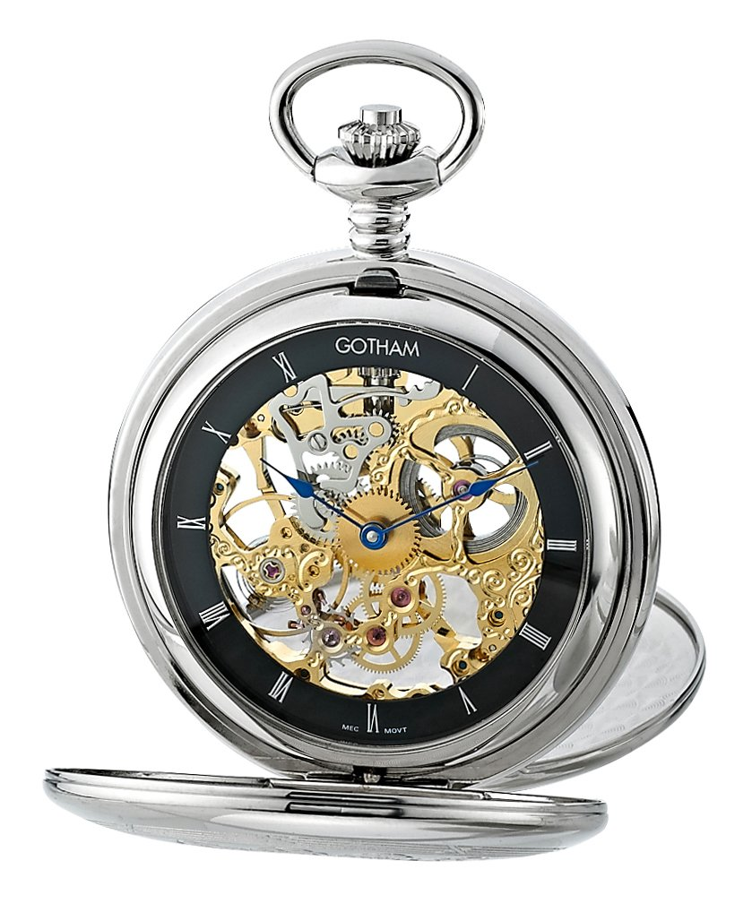 Gotham Men's Silver-Tone Double Cover Exhibition Mechanical Pocket Watch # GWC18800SBG