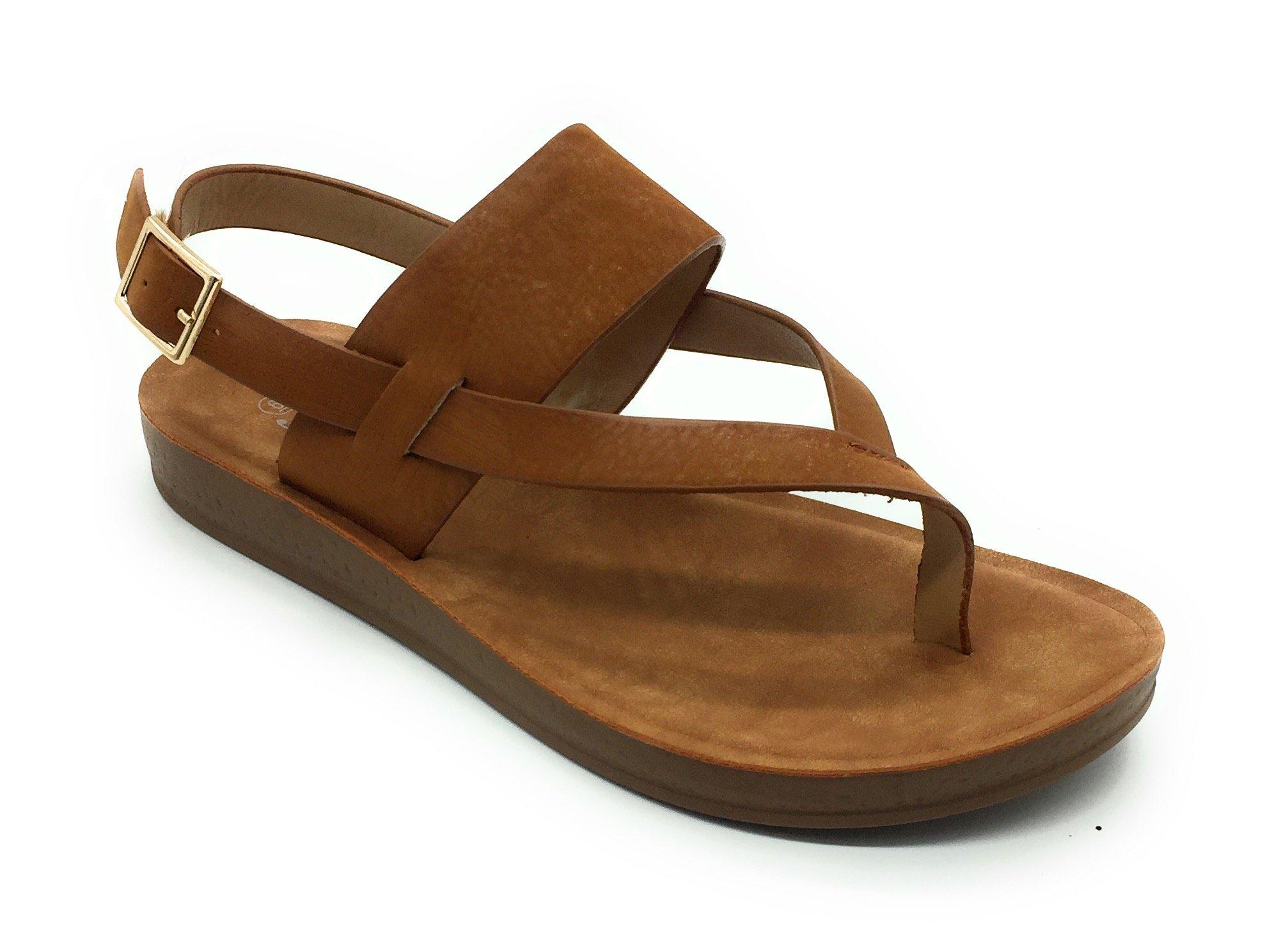Women Cute Open Toe Comfortable Ankle Strap Platform Wedge Stylish Flexible Summer Flat Sandal, Tan 7.5(M) US